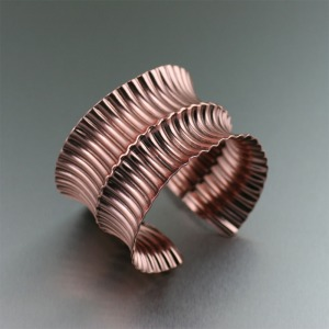 Corrugated Fold Ford Anticlastic Copper Cuff